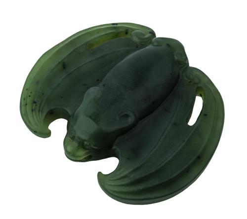 An 18th Century Qianlong Period Chinese Spinach Jade Bat Pendant