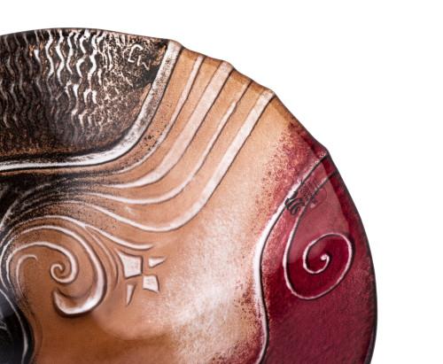 A Mats Jonasson Sweden Signed Egyptian Style Glass Dish