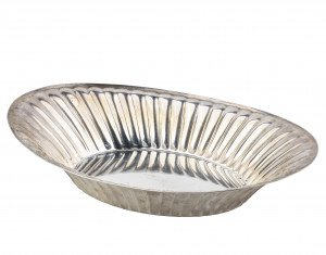A Vintage Sterling Silver Ribbed Bread Basket