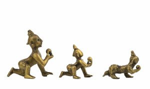 A Graduated Set Of 3 Indian Copper Alloy 17-18th Century Balakrishna Hindu Deity Sculptures