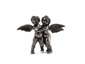 An Italian Peruzzi 800 Silver Florence Two Angel Pin