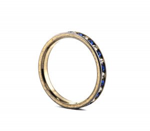 A Vintage Faux Diamond & Blue Sapphire Eternity Wedding Band Size 9