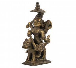A 17-18th Copper Alloy Indian Deity Shrine Sculpture Of Durga