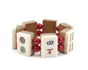 A Vintage Ox Bone and Bamboo Mahjong Tile Bracelet
