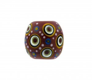 A Red Ground Fish Eye Decorated Japanese Contemporary Glass Bead