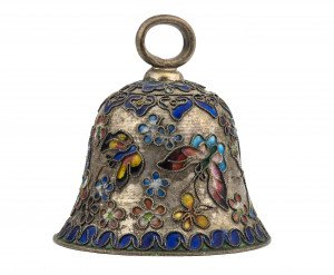 A Chinese Butterfly Enamel Decorated Silver Tone Bell