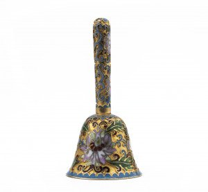 A Vintage Chinese Floral Enamel Gilt Tone High Tone Bell