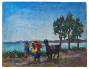 "A Vintage Bolivian Painting ""Laco"" Titicaca Signed Edgar Rocha"
