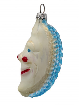A Vintage Hand Blown Glass Christmas Holiday Ornament Man In The Moon