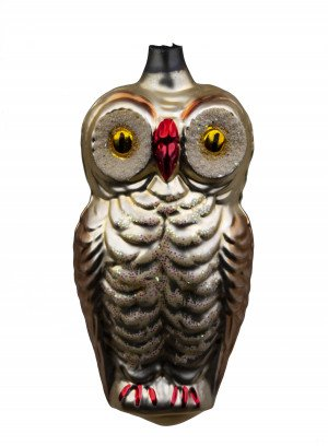 A Vintage Hand Blown Glass Christmas Tree Ornament Of An Owl