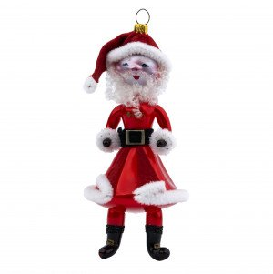 An Italian Red Hand Blown Glass Santa Claus Holiday Christas Tree Ornament