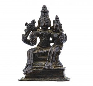 An Early Indian Copper Alloy Figure of Uma-Maheshvara Atop Nandi Shrine