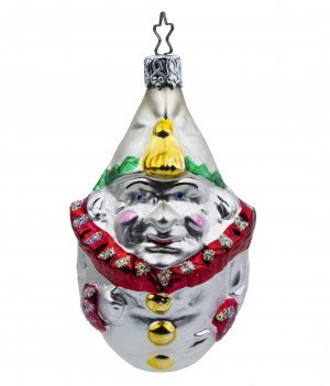 A Vintage Glass Decorated Clown Decorated Christmas Ornament