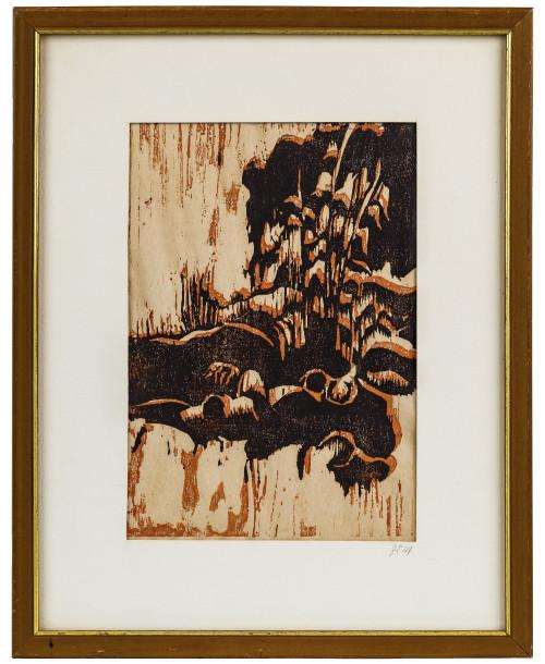 A Vintage Expressionist Landscape Framed Woodcut Signed J.E.M.