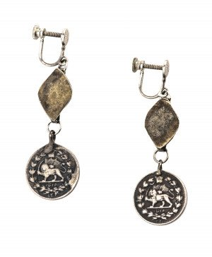 Pair Of Antique Silver Nasir Al-Din Shah Persian Coin Earrings
