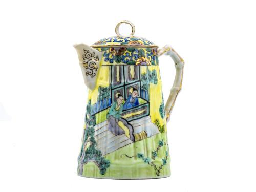 An Antique 19th Century Famille Verte Biscuit Glaze Porcelain Teapot For A.A. Vantine