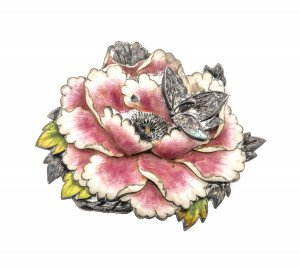 Belle Epoque Enamel & Silver Broach Pin