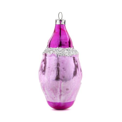 A Vintage German Hand-Blown Glass Pink Elf Christmas Ornament
