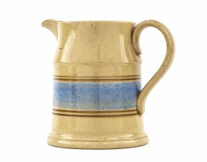 An Antique Yellow Ware Blue & Brown Banded Pitcher
