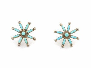 A Pair Of Signed LML Vintage Sterling Silver Turquoise Zuni Cluster Earrings