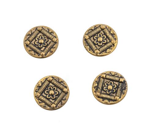 A Set Of 4 Victorian Brass Antique Buttons