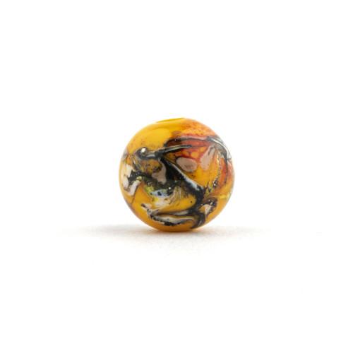 A Contemporary Yellow Ground Glass Bird Egg Swirl Japanese Ojime Bead