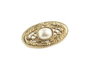 A Vintage Faux Pearl & Gilt Decorated Victorian Style Brooch