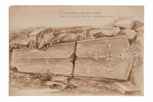 British School 18th Century Drawing, A Tombstone At Poughly Farm