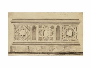 An 18th Century British School Drawing Tomb Of Sir James Hobart Norwich Cathedral