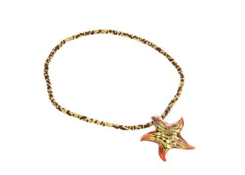 Vintage Murano Glass Starfish Form Jewelry Necklace