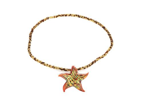 Vintage Murano Glass Starfish Form Jewelry Necklace 4