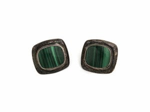 Malachite & Sterling Silver Jewelry Vintage Earrings 2