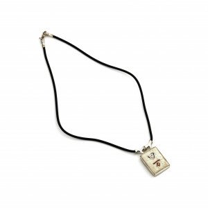 Mahjong Game Tile Jewelry Silver Mounted Vintage Necklace 3