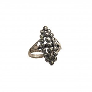 Victorian Jewelry Ring Marcasite Inlaid Size 5 3