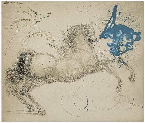A Vintage Salvador Dali Etching Pegasus From Mythologie