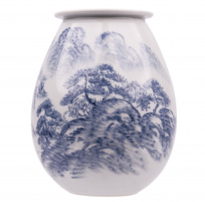 A Vintage Korean Blue and White Porcelain Decorated Landscape Vase