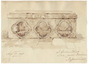 An Antique British Architectural Study Dated  August 23, 1845 Bertrams Tomb Staffordshire