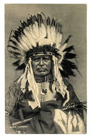 Navajo American Indian RPPC Postcard Chief Black Thunder