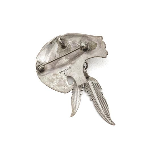 A Navajo Vintage Silver Jewelry Navajo Bear Pendant