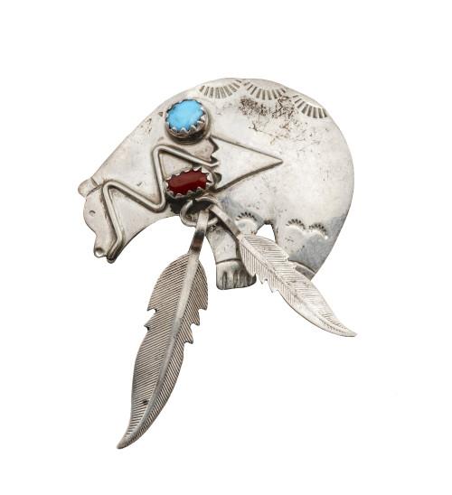 Navajo silver jewelry pendant bear pin