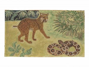 Vintage Wall Art Jungle Painting Leopard and Snake
