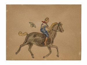 An Original Vintage Cowboy Illustration Art Drawing Wall Art