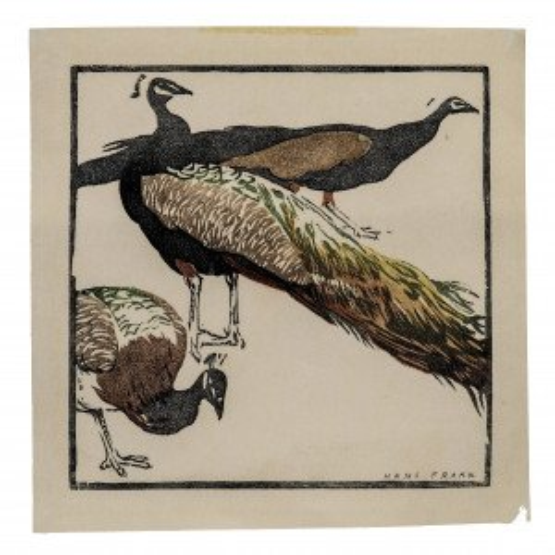 Peacocks Original Hans Frank Woodblock Print Wall Art
