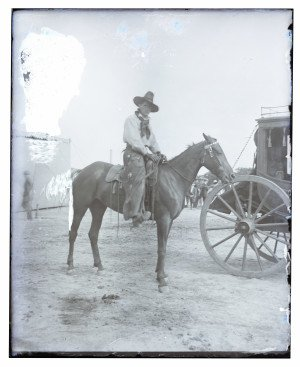 An Antique Glass Plate Negative Cowboy On Horse With Hat