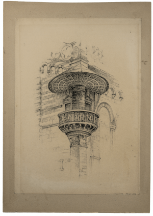 An Antique Architectural Drawing of Prato Signed R.J. Nedved