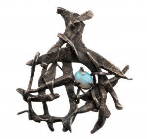 Opal pendant brutalist jewelry