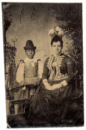 An Antique 19th Century Tintype Of An African American Mother & Child