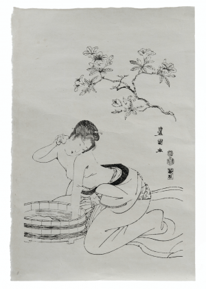 A Vintage Signed Japanese Wood Block Print Of A Bather
