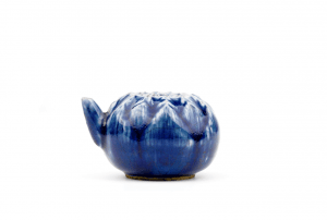 An Antique Chinese Porcelain Blue Glazed Lotus Form Water-pot