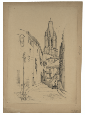 An Antique Graphite Architectural Study of Gerona 1923' Signed R.J. Nedved